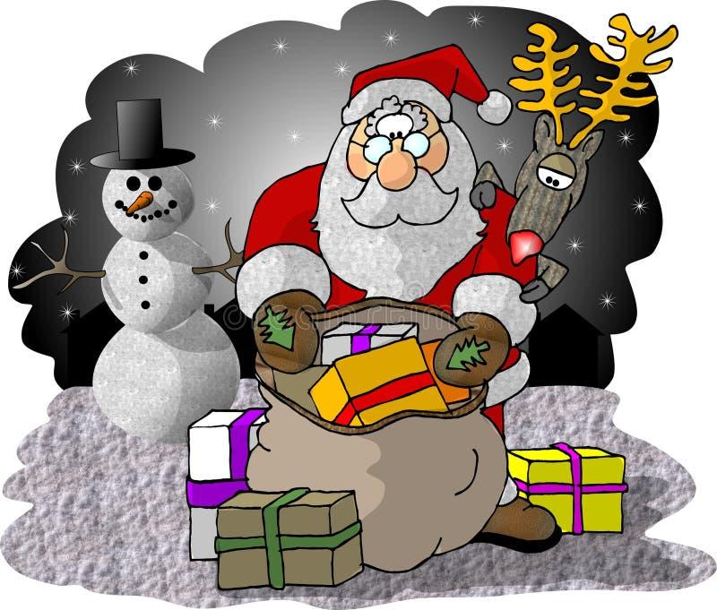 Santa che controlla il suo sacchetto dei regali illustrazione di stock