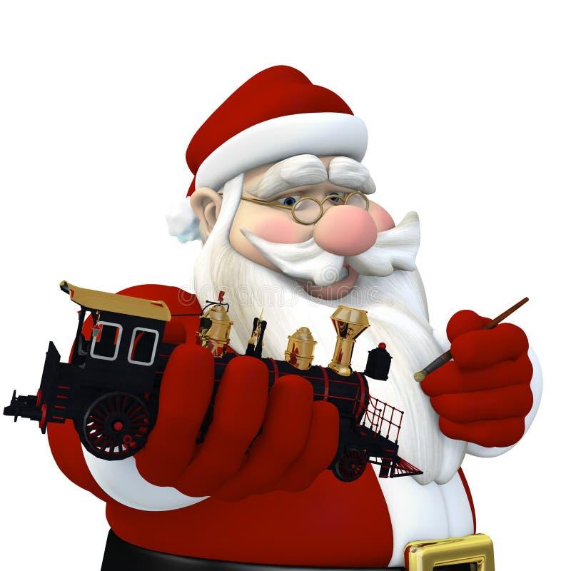 Santa che fa i giocattoli illustrazione di stock