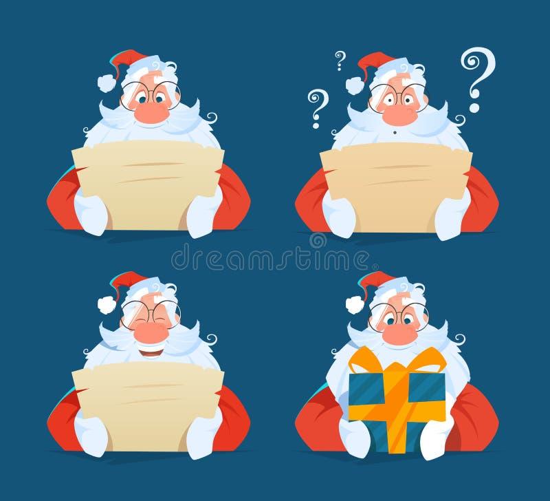 Santa che legge un insieme di espressione del fronte della lettera immagini stock