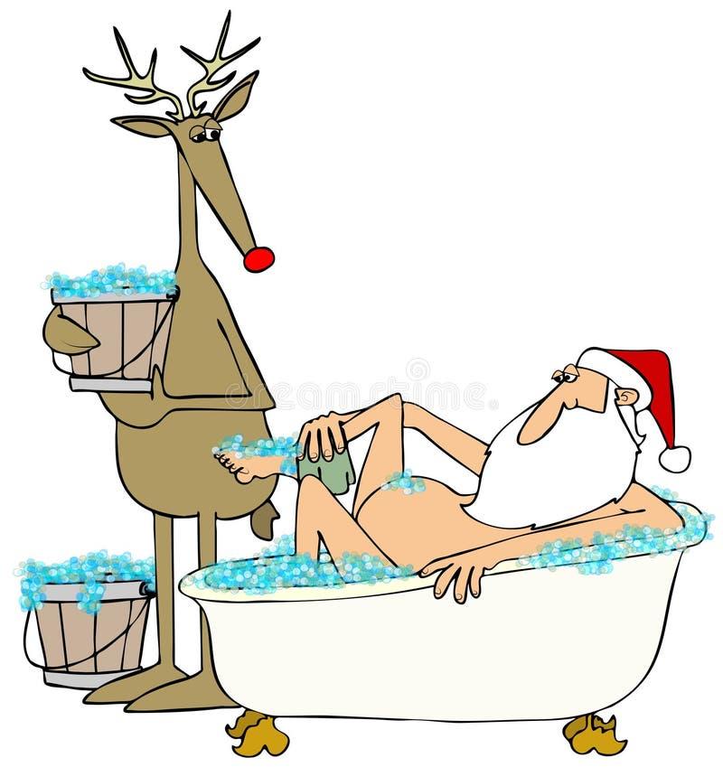 Santa che prende un bagno di bolla illustrazione vettoriale