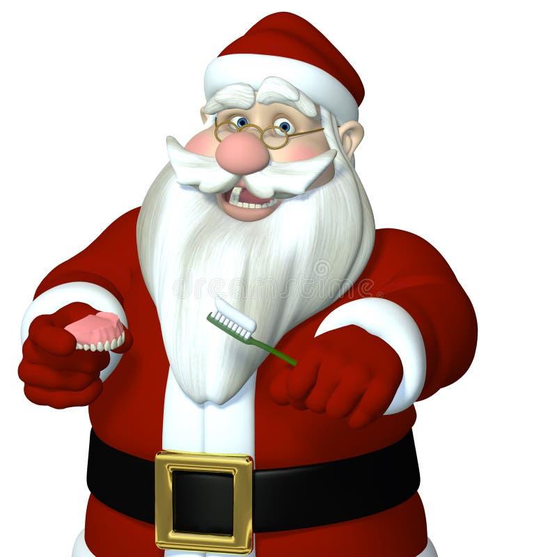 Santa che spazzola le sue protesi dentarie superiori illustrazione vettoriale