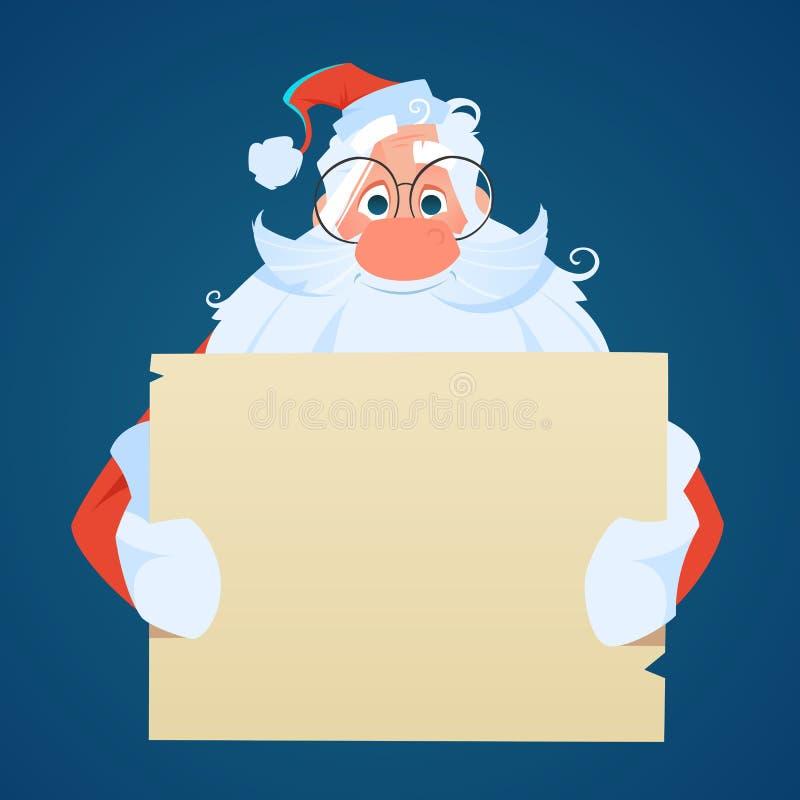 Santa che tiene un grande foglio di carta vuoto fotografia stock libera da diritti