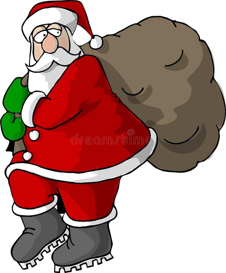 Santa che trasporta un sacchetto dei regali illustrazione vettoriale