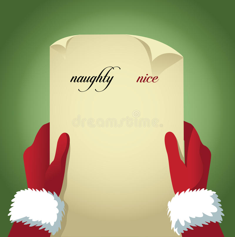 Santa checking his naughty and nice list royalty free illustration