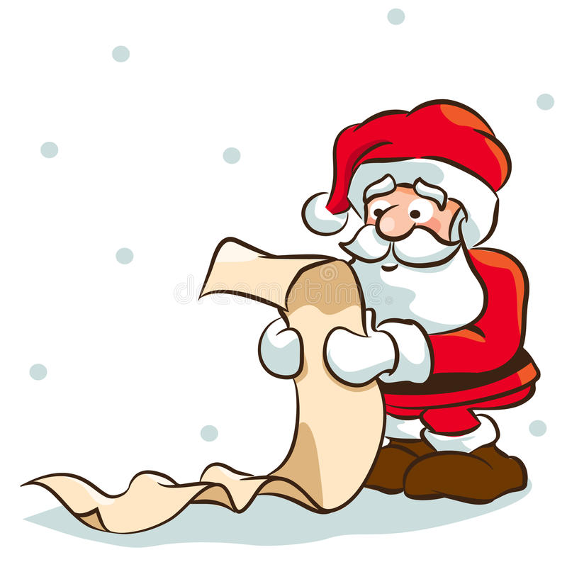 Santa checking list vector illustration
