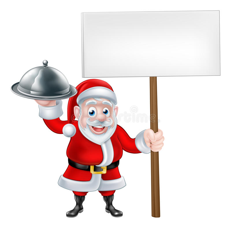 Santa Chef Holding Christmas Dinner stock illustratie