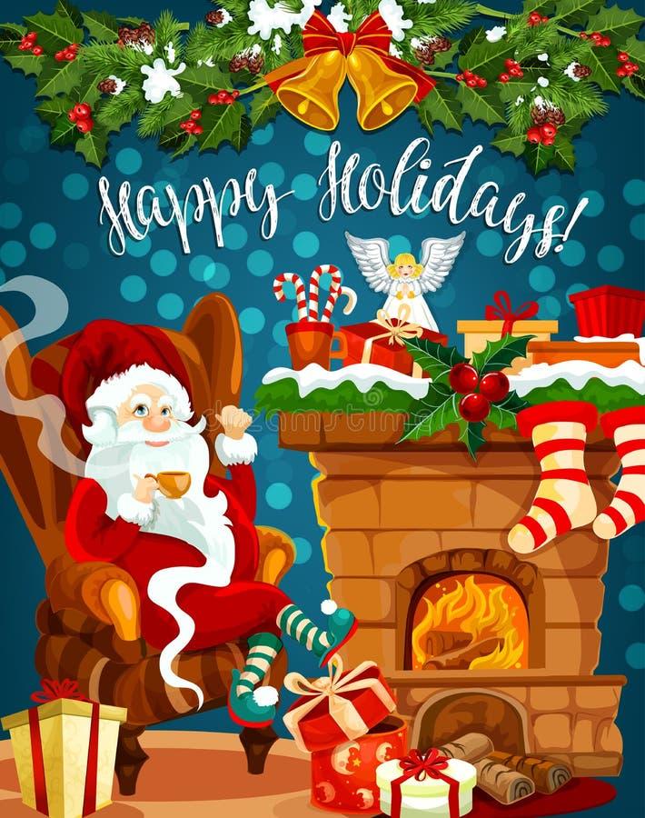 Santa, cheminée de Noël avec la carte de voeux de cadeau illustration stock