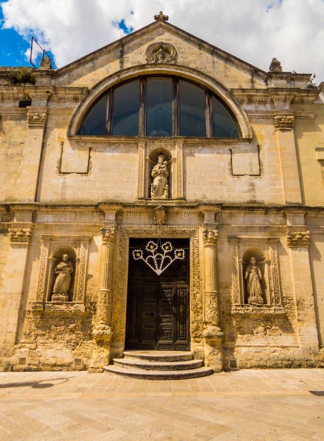 Santa Chiaras kyrka i Matera, Italien royaltyfria foton