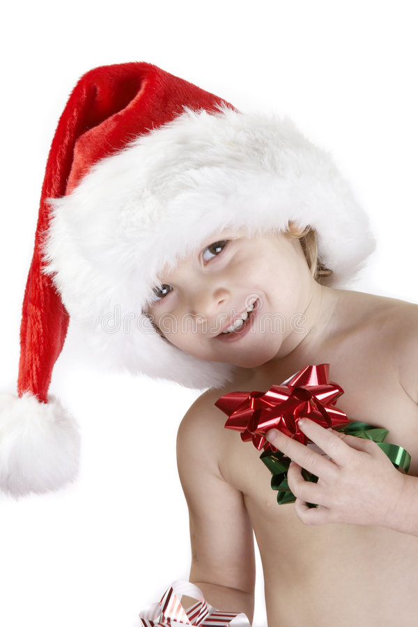 Santa child with christmas bows royalty free stock photo