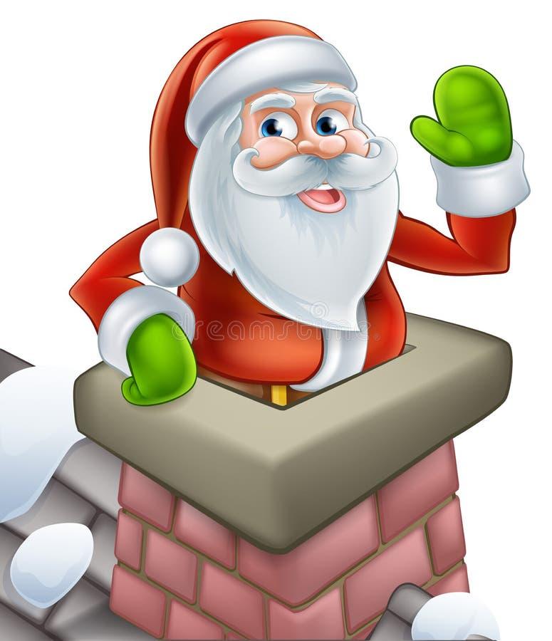 Santa in chimney christmas cartoon stock illustration
