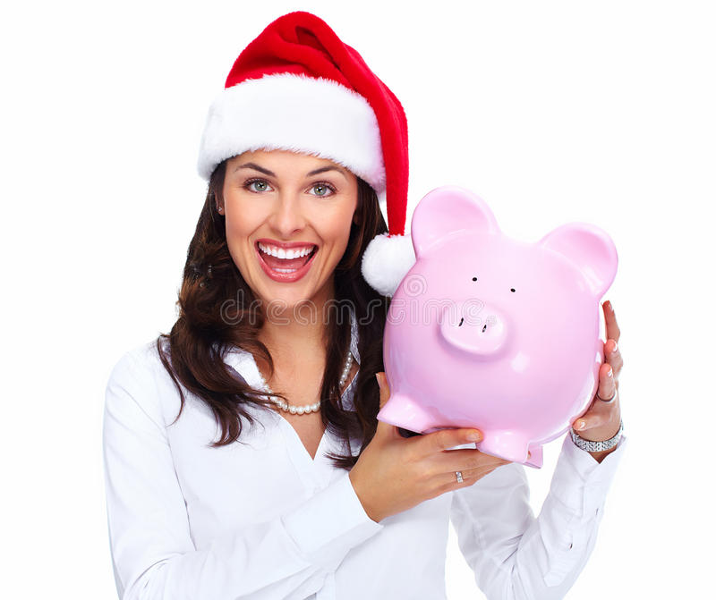 Download Santa Christmas Business Woman With A Piggy Bank. Stock Image - Image: 35580487