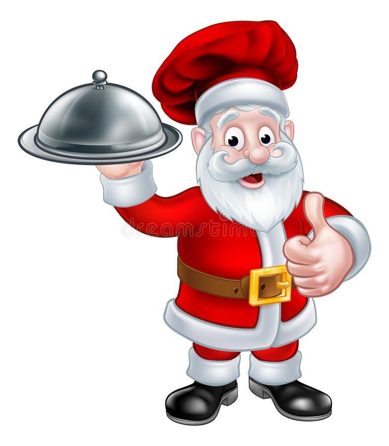 Santa Christmas Chef Holding Plate av mat royaltyfri illustrationer