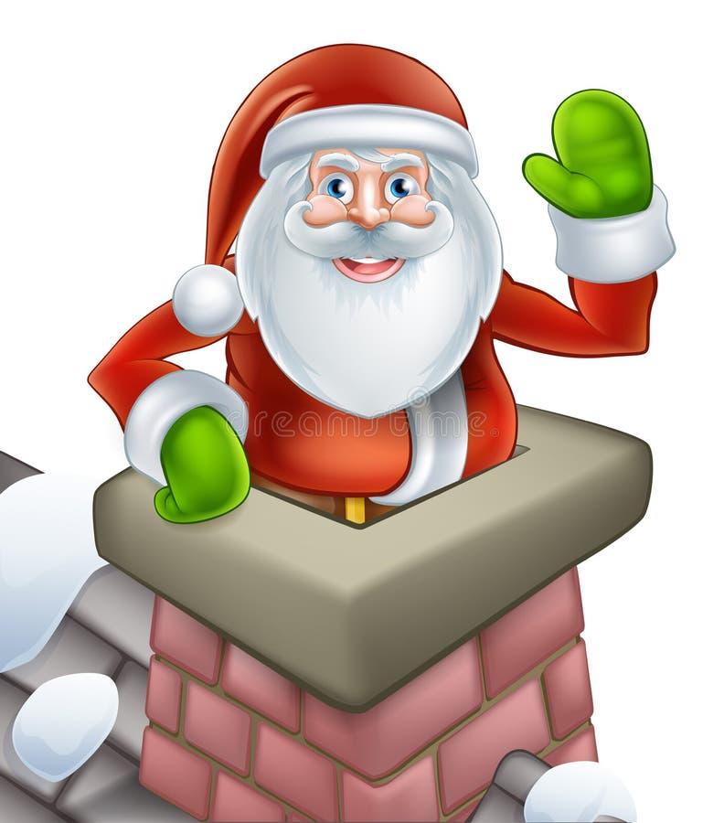 Santa christmas chimney scene stock illustration