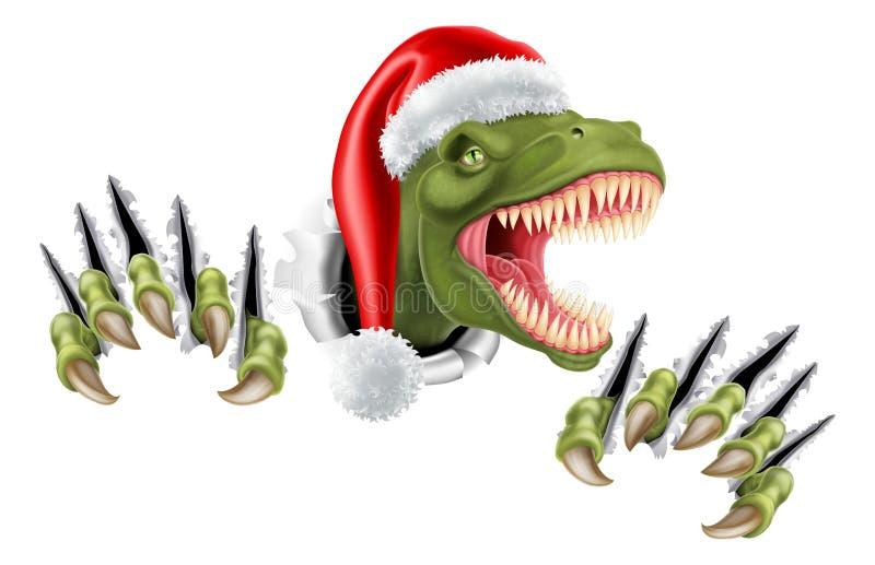 Santa Christmas Hat T Rex Dinosaur ilustração royalty free
