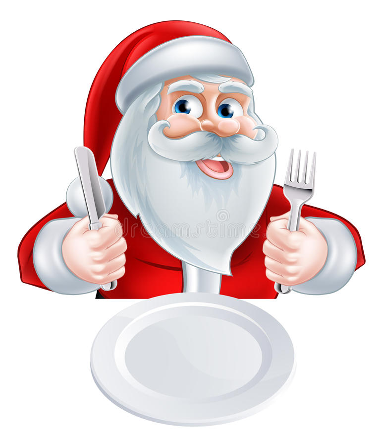 Santa Christmas Lunch Concept stock illustration