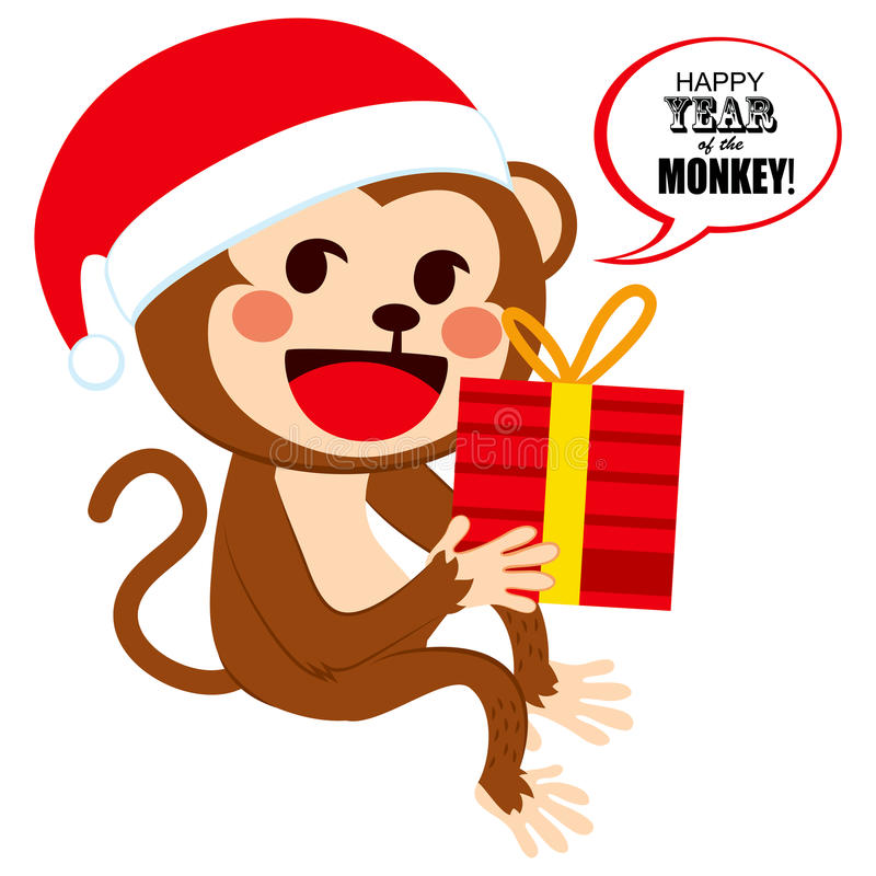 Santa Christmas Monkey illustration libre de droits