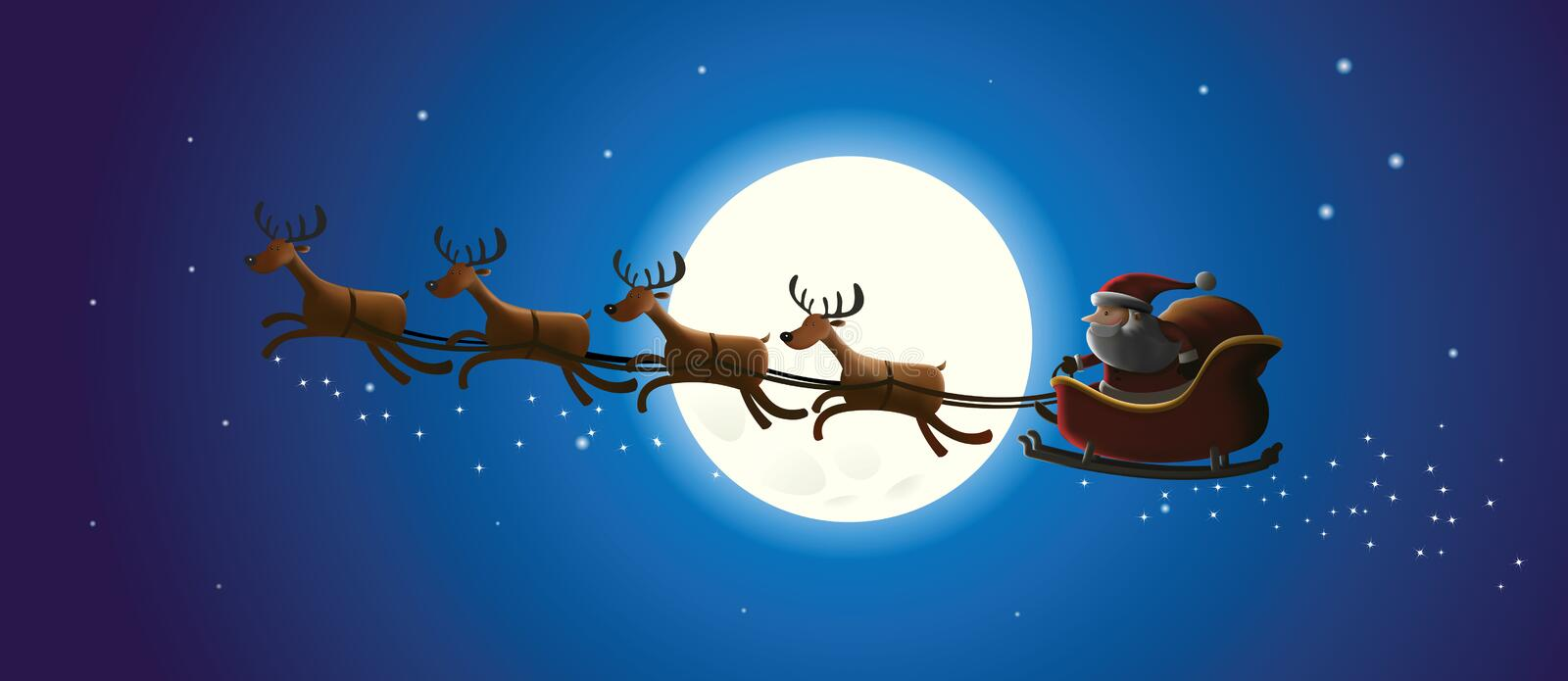 Santa and Christmas Reindeer royalty free stock images