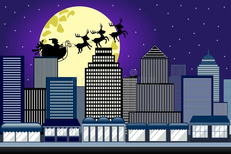 Santa Christmas Sled Sleigh Flying-Nachtstad stock illustratie