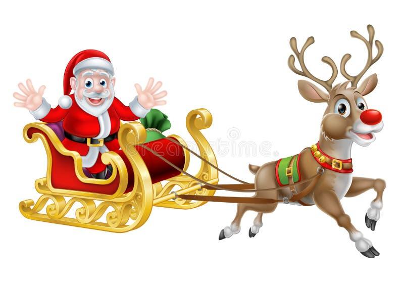 Santa Christmas Sleigh illustrazione vettoriale