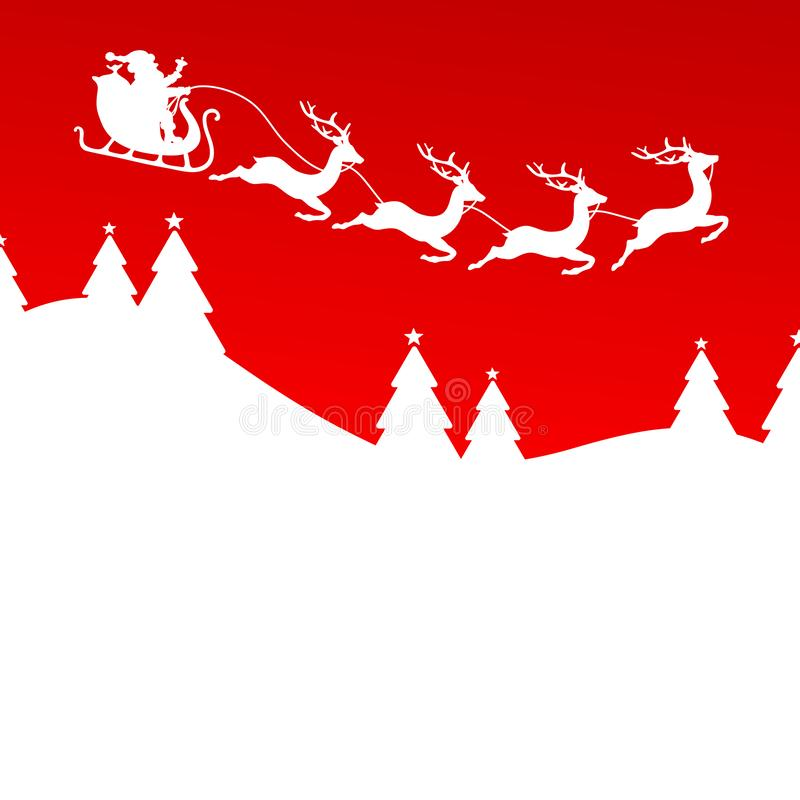 Santa And Christmas Sleigh Four Reindeers Forest Red stock illustration