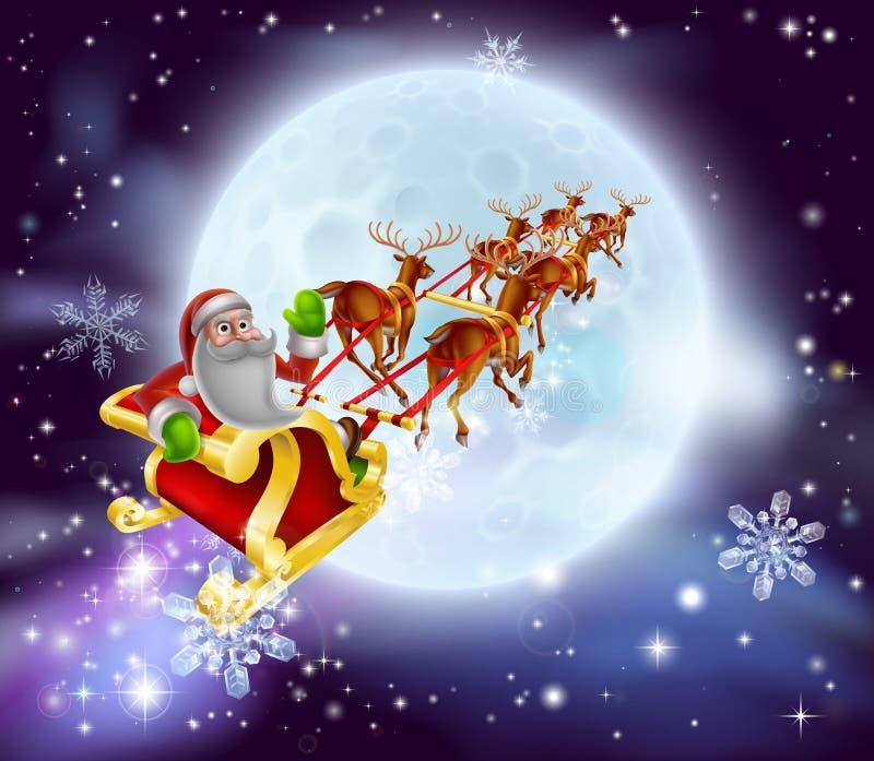 Santa Christmas Sleigh Moon stock illustrationer