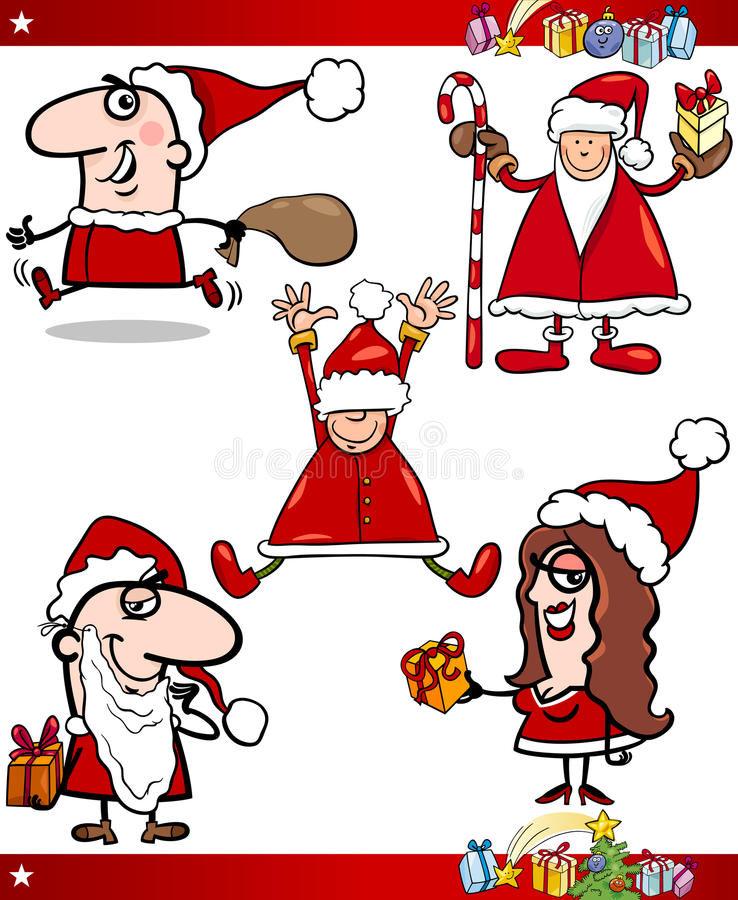 Santa and christmas themes cartoon set stock vector image 45385578 - Papa noel vector ...