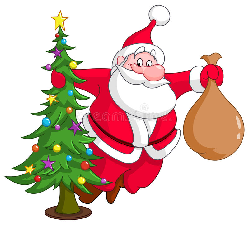 Santa With Christmas Tree Stock Images