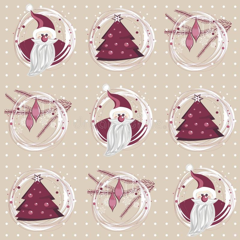 Santa, christmas tree and branches purple pink royalty free illustration