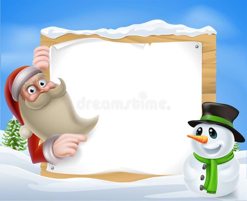Santa Christmas Winter Scene lizenzfreie abbildung
