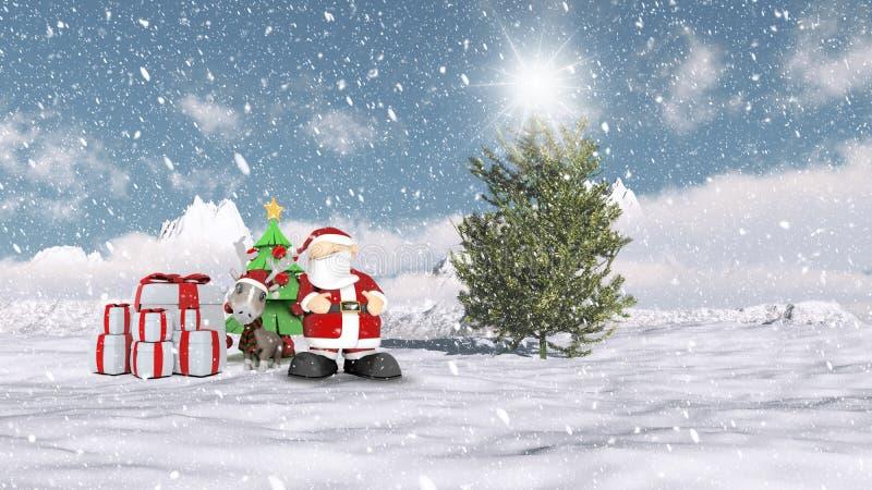 Santa in a Christmas winter scene stock illustration