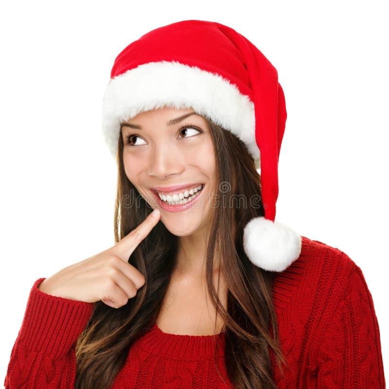 Download Santa Christmas Woman Looking Stock Photo - Image of happy, idea: 21805436