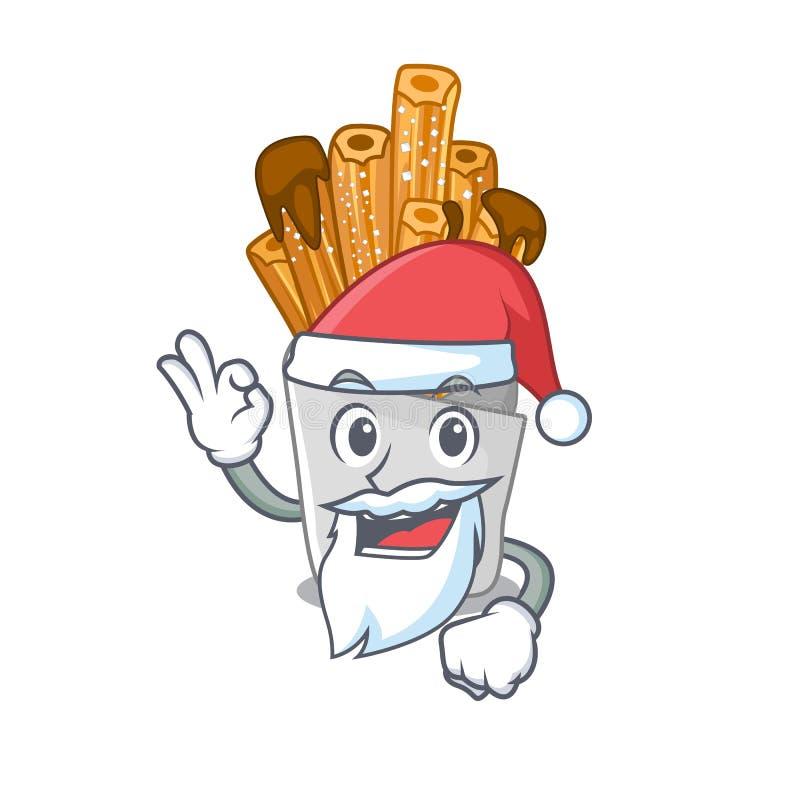 Santa churros in the wooden character jar. Vector illustration vector illustration
