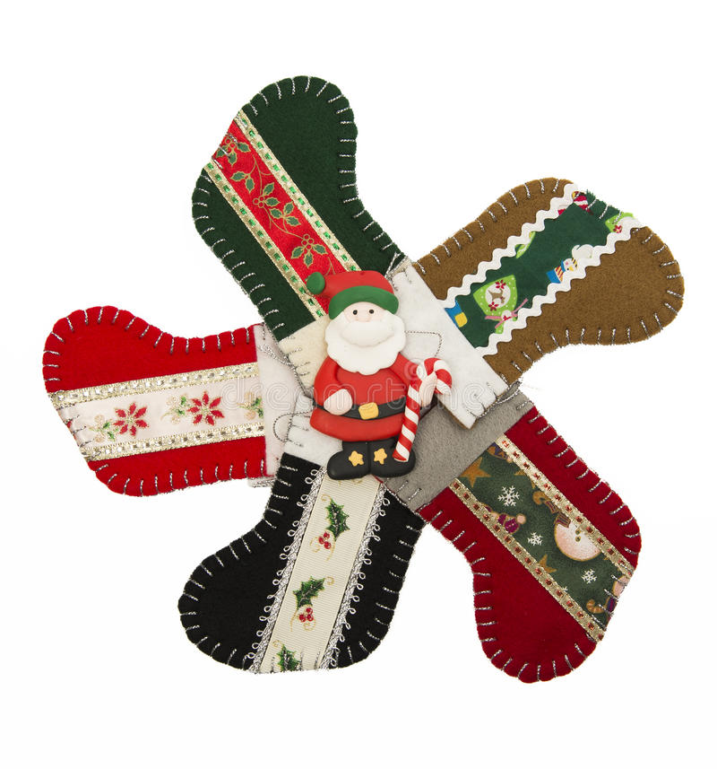 Santa in the circle of Christmas Sock stock images