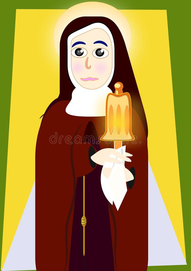 Santa Clara of Assisi. The Franciscan half-body with habit and carrying the custody royalty free illustration