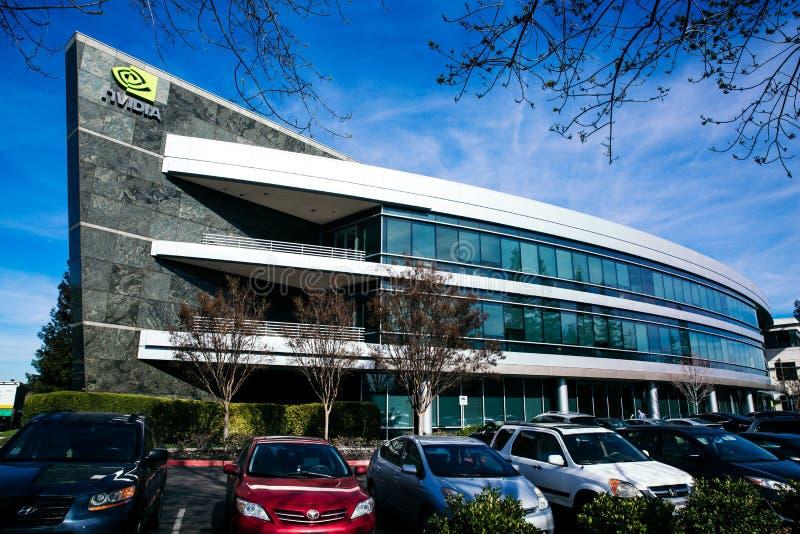Santa Clara, CA - Februari 1, 2018: NVIDIA Corp , leider die van Kunstmatige intelligentie, uitvinder van GPU, Tesla, Quadro, GeF stock afbeelding