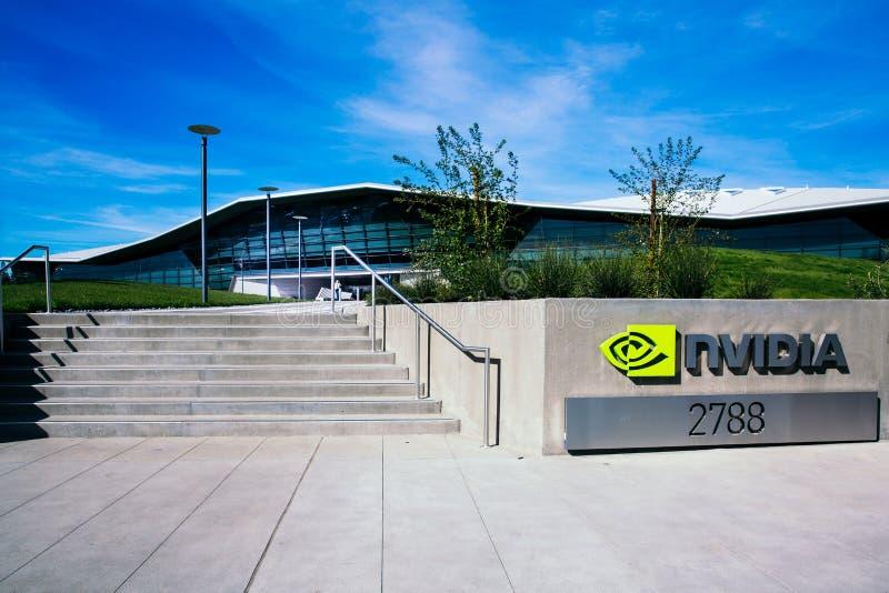 Santa Clara, CA - Februari 1, 2018: NVIDIA Corp , leider van Kunstmatige intelligentie, GPU, GeForce, 3D Gokken, 3D Visie royalty-vrije stock foto