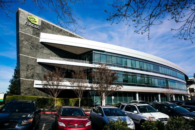 Santa Clara, CA - Februari 1, 2018: NVIDIA Corp , leider van Kunstmatige intelligentie, GPU, GeForce, 3D Gokken, 3D Visie royalty-vrije stock foto's