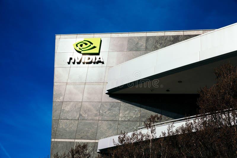 Santa Clara, CA - Februari 1, 2018: NVIDIA Corp , leider van Kunstmatige intelligentie, GPU, GeForce, 3D Gokken, 3D Visie stock afbeeldingen