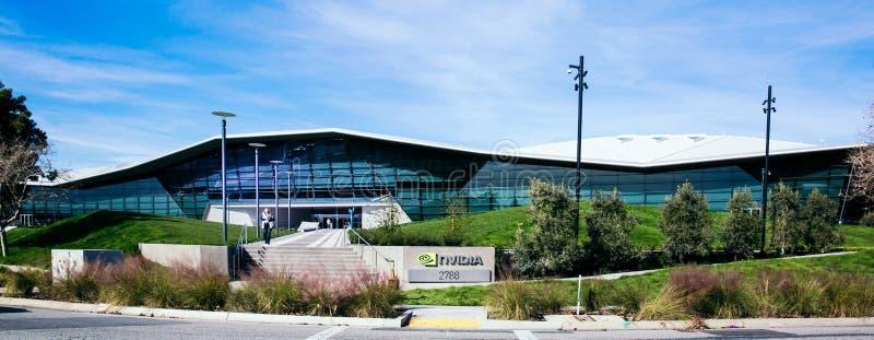 Santa Clara, CA - fevereiro 1, 2018: NVIDIA Corp , líder da inteligência artificial, GPU, GeForce, 3D jogo, visão 3D imagem de stock royalty free