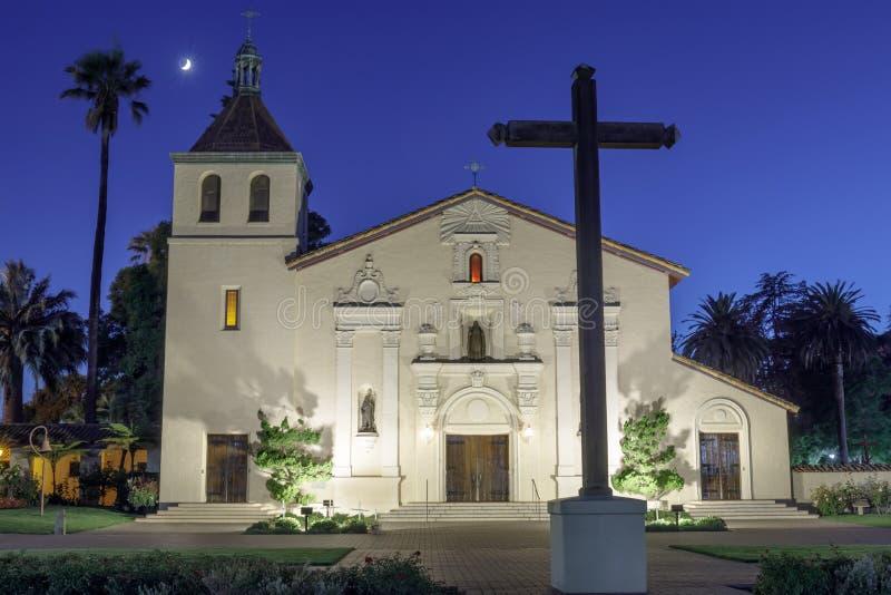 Santa Clara, California - September 13, 2018: Exterior of Church of Mission Santa Clara de Asis. The front facade of Mission Santa Clara, student chapel of royalty free stock photo