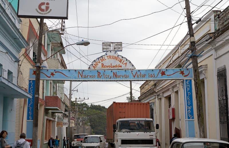 Santa Clara. Celebration of the anniversary of the cuban revolution along the street in Santa Clara, Cuba stock photos
