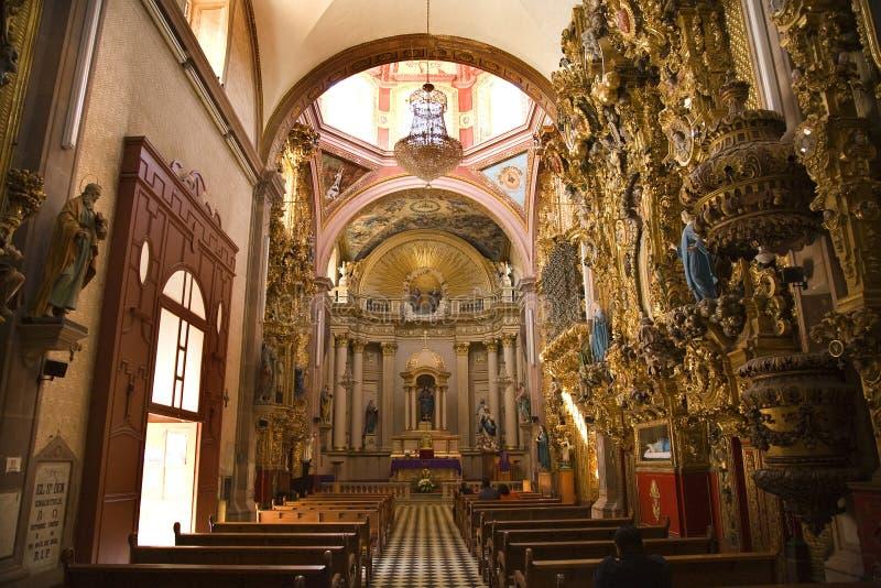 Santa Clara Church Pink Dome Queretaro Mexico. Santa Clara Church and Convent, Ornate Baroque Interior, Golden Altar, Dome, Queretaro, Mexico royalty free stock photo