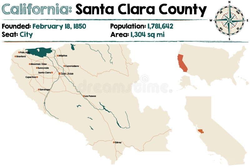Santa Clara county in California. Large and detailed map of Santa Clara county in California royalty free illustration