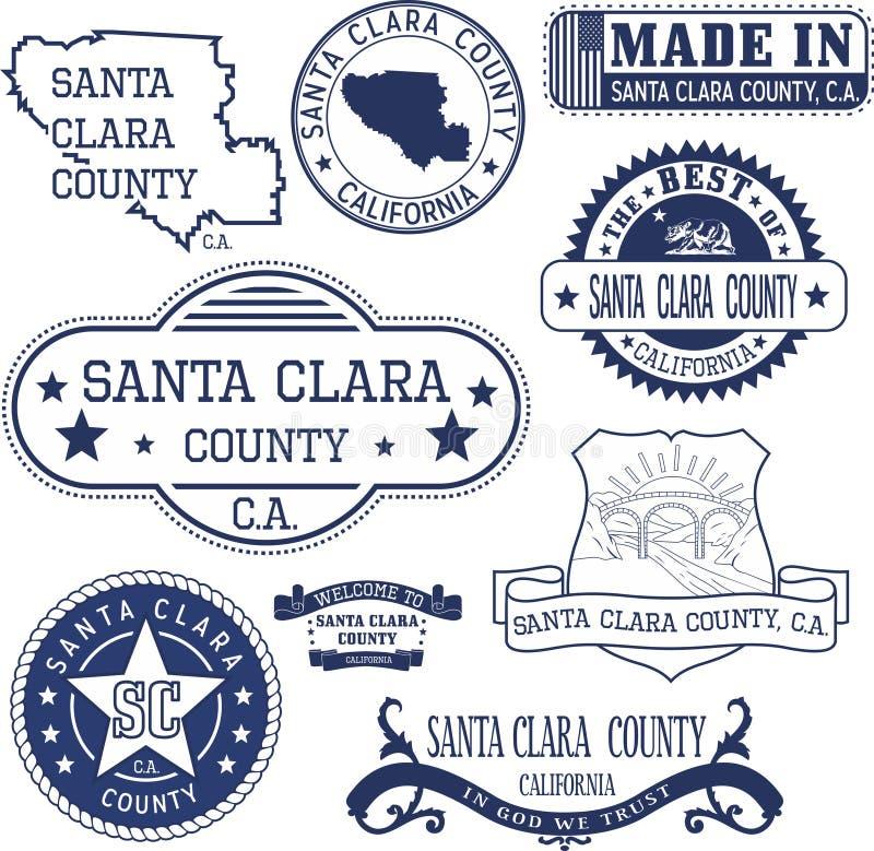 Santa Clara county, CA. Set of stamps and signs. Santa Clara county, California. Set of generic stamps and signs including Santa Clara county map and seal royalty free illustration