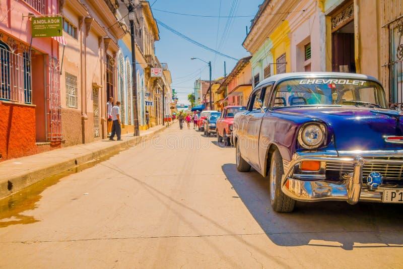 SANTA CLARA, CUBA - 8 DE SEPTIEMBRE DE 2015: Visión, en el centro de la ciudad en el capital de la provincia, chalet Clara foto de archivo libre de regalías