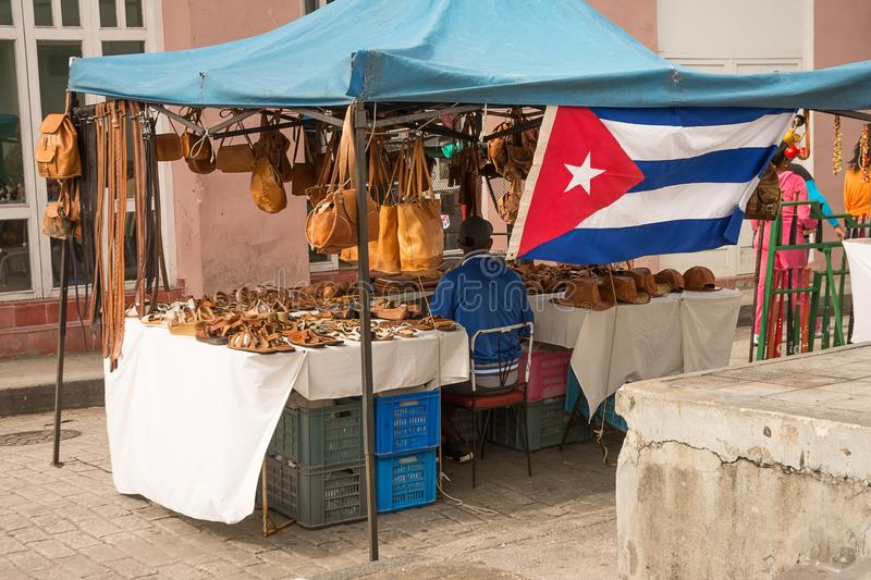 Souvenir stall on the streets of Santa Clara on a Sunday in December royalty free stock image