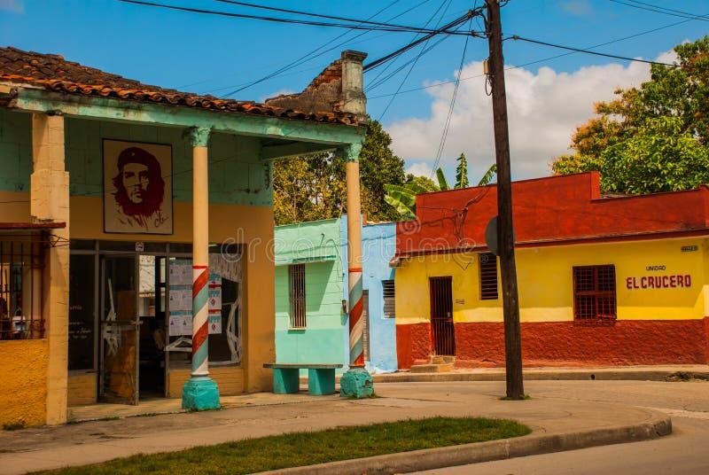 Santa Clara, Cuba : Dessin sur la maison Che Guevara Le héros de la révolution cubaine est un héro national dedans dans tout le C image stock