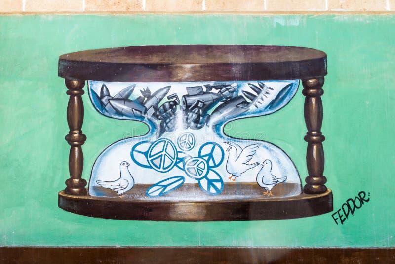 SANTA CLARA, CUBA - 13 FÉVRIER 2016 : Anti peinture murale de guerre en Santa Clara, Cu images stock