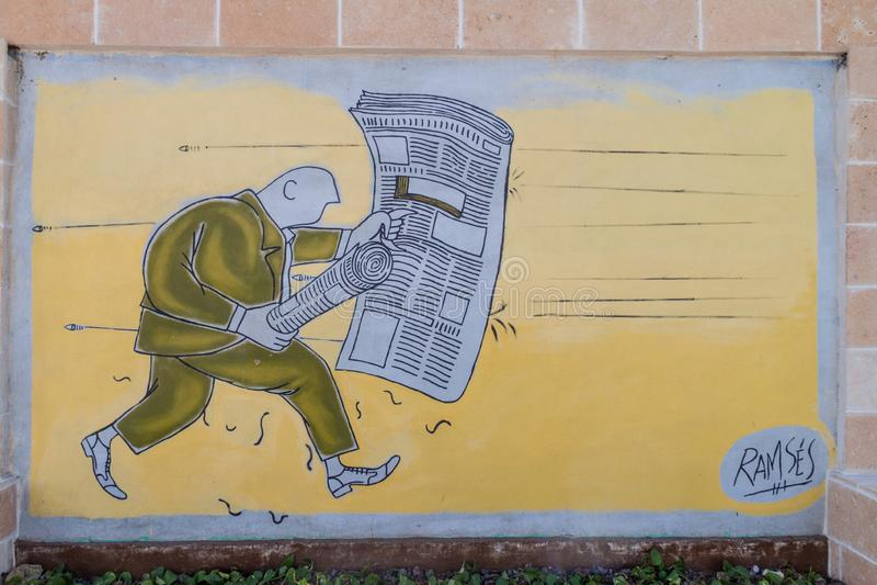 SANTA CLARA, CUBA - 13 FÉVRIER 2016 : Anti peinture murale de guerre en Santa Clara, Cu photos stock