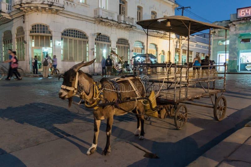 SANTA CLARA, CUBA - 13 FÉVRIER 2016 : Chariot de chèvre pour des enfants à la place de Parque Vidal au centre de Santa Clara, CUB photos libres de droits